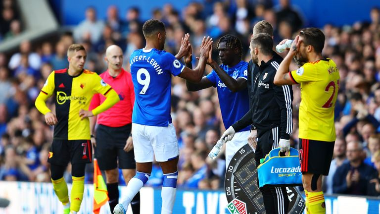 Calvert-Lewin makes way for new signing Moise Kean during Everton's win over Watford