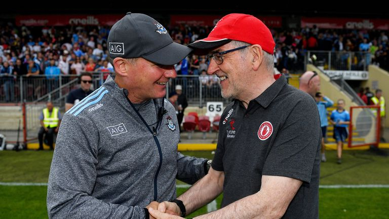 It was all smiles for Jim Gavin and Mickey Harte in Omagh, given their sides were already qualified for the last four