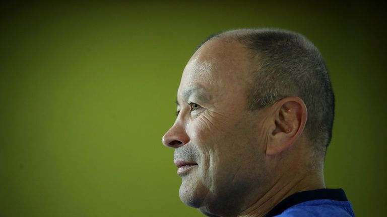 Eddie Jones, the England head coach, faces the media during the England media session on August 16, 2019 in Bristol, England.