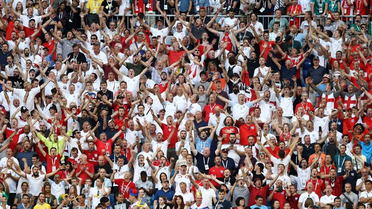 England fans during the 2018 FIFA World Cup Russia Quarter Final match between Sweden and England at Samara Arena on July 7, 2018 in Samara, Russia.