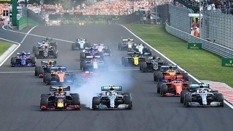 Watch the dramatic opening lap of the Hungarian GP.