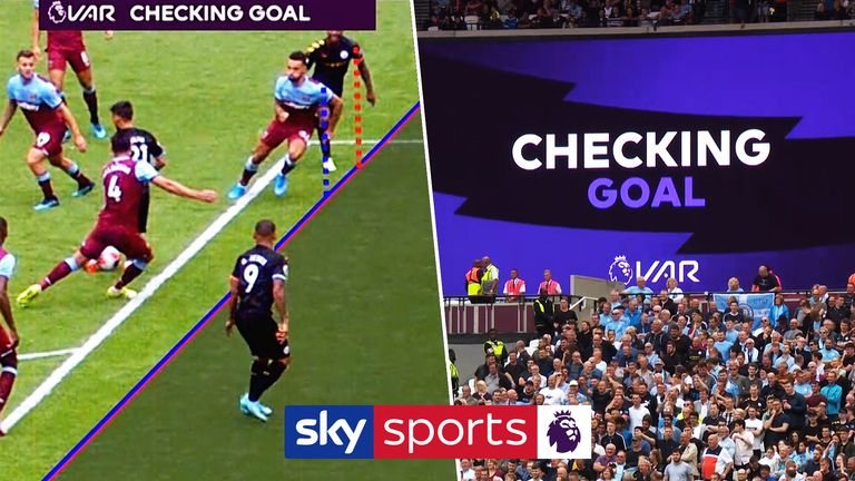 Sterling is just offside in the lead-up to Jesus scoring for City at West Ham