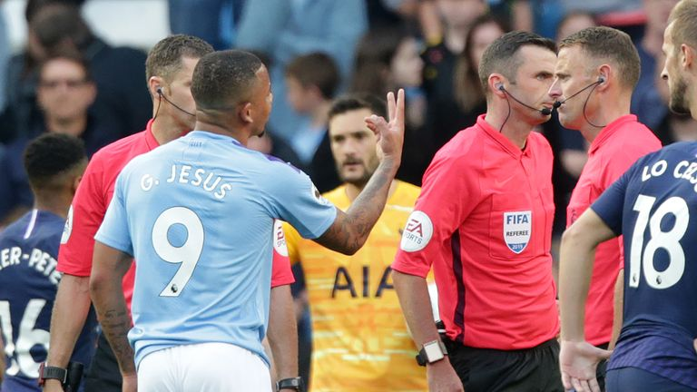 Gabriel Jesus pleads with Michael Oliver after his goal is ruled out by VAR