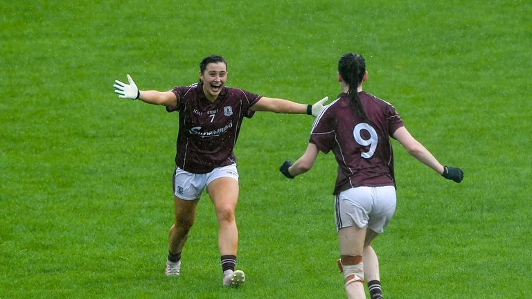 Galway players Charlotte Cooney and Aine McDonagh celebrate their victory over Waterford
