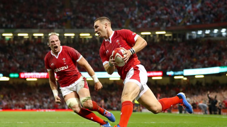 Wales' George North scores his side's first try against England