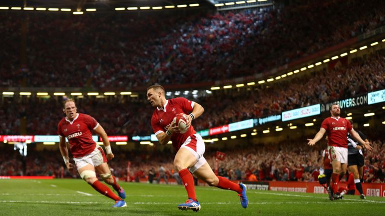 George North goes over to score Wales' opening try at the Principality Stadium