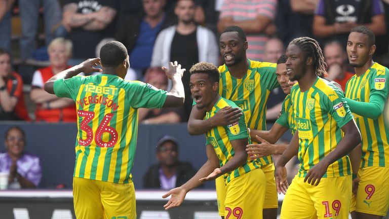 West Brom's Grady Diangana celebrates after making it 1-1