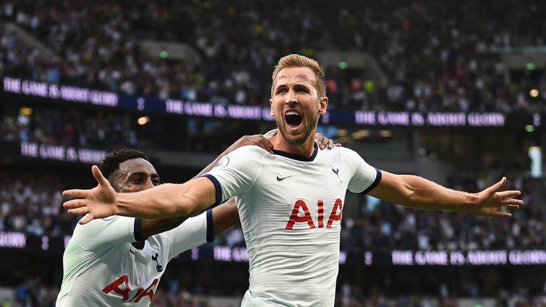 Harry Kane celebrates scoring Tottenham's second goal