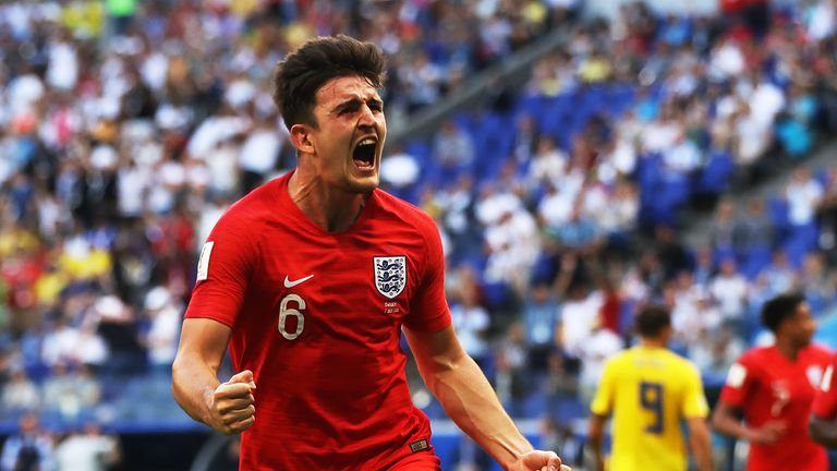 SAMARA, RUSSIA - JULY 07:  Harry Maguire of England runs off to celebrate after scoring during the 2018 FIFA World Cup Russia Quarter Final match between Sweden and England at Samara Arena on July 7, 2018 in Samara, Russia. (Photo by Ian MacNicol/Getty Images)