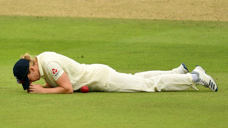 Heather Knight of England reacts after dropping a catch during the Ashes this summer