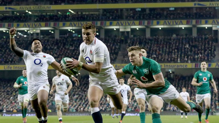 Henry Slade scored two tries as England beat Ireland 32-20 in Dublin