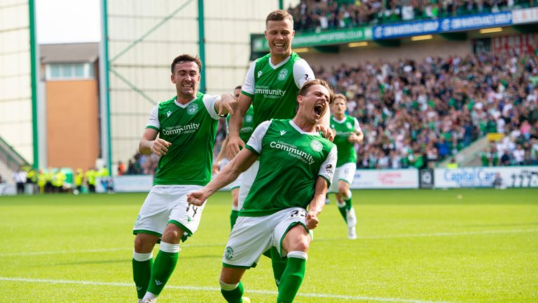 Hibernian's Scott Allan (right) celebrates the opener with Stevie Mallan and Florian Kamberi