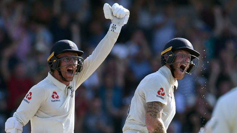 Jack Leach recreates his single scoring shot in his crucial stand with Ben Stokes. (Pictures: Barmy Army)