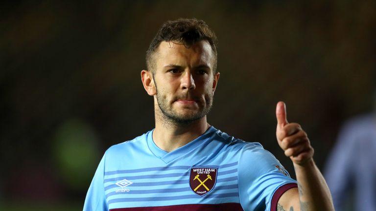 Jack Wilshere celebrates after scoring for West Ham against Newport
