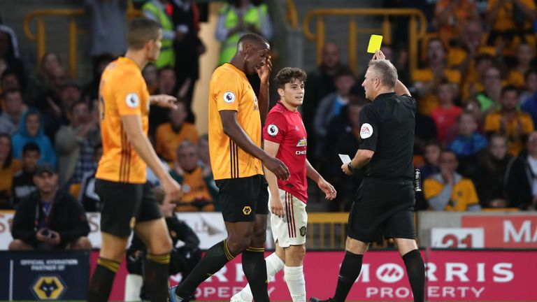 James was booked for simulation in Manchester United's draw at Wolves
