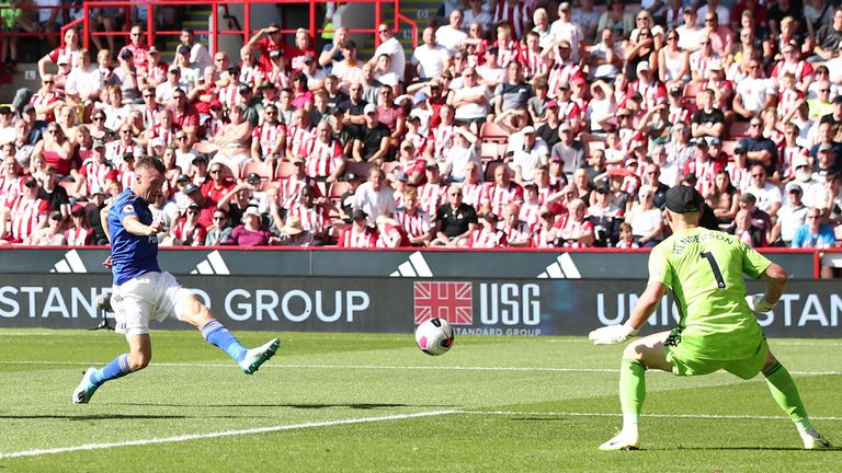 Jamie Vardy scores the opening goal fo the game at Bramall Lane