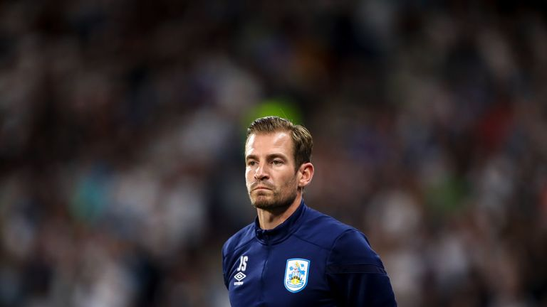Jan Siewert during Huddersfield's 2-1 defeat to Derby County