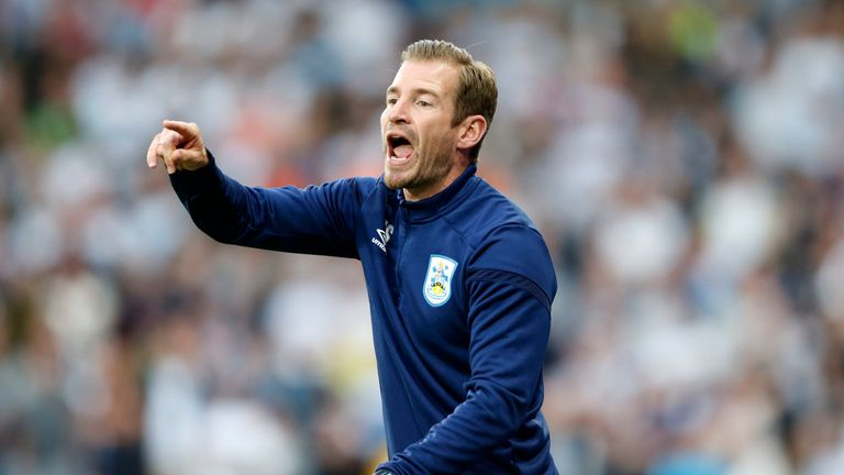 Jan Siewert on the touchline during Huddersfield's 2-1 defeat to Derby County