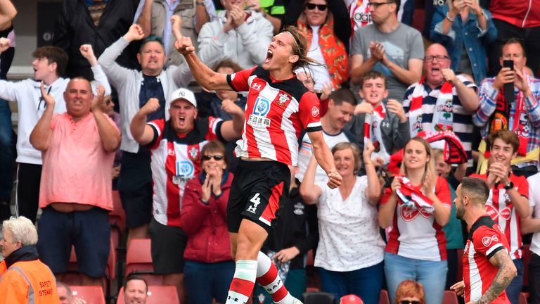Jannik Vestergaard celebrates after scoring Southampton's equaliser