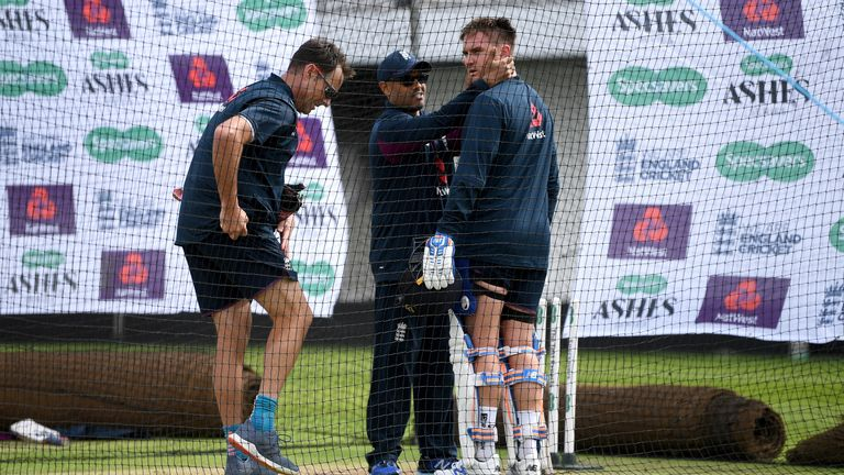 Jason Roy was struck on the helmet during England practise