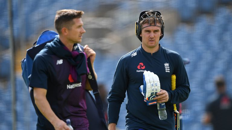 Joe Denly and Jason Roy during a nets session at Headingley on August 20, 2019
