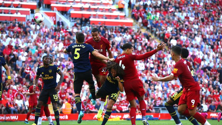 Joel Matip headed in the opening goal of the game for Liverpool