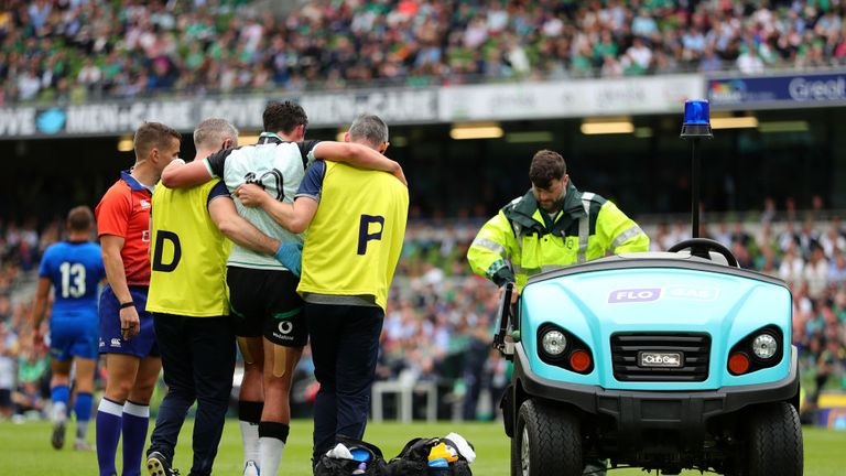 Carbery suffered an ankle injury in the World Cup warm-up win over Italy which required surgery