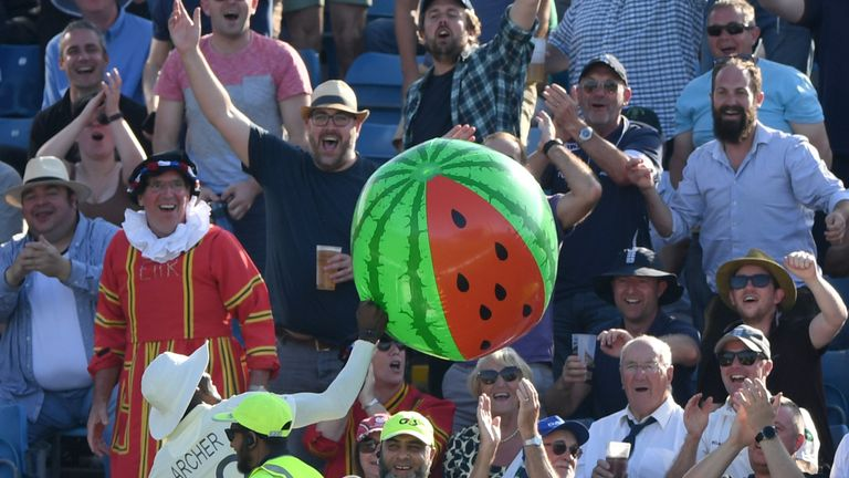 Jofra Archer returns an inflatable watermelon to the stands - much to the delight of fans