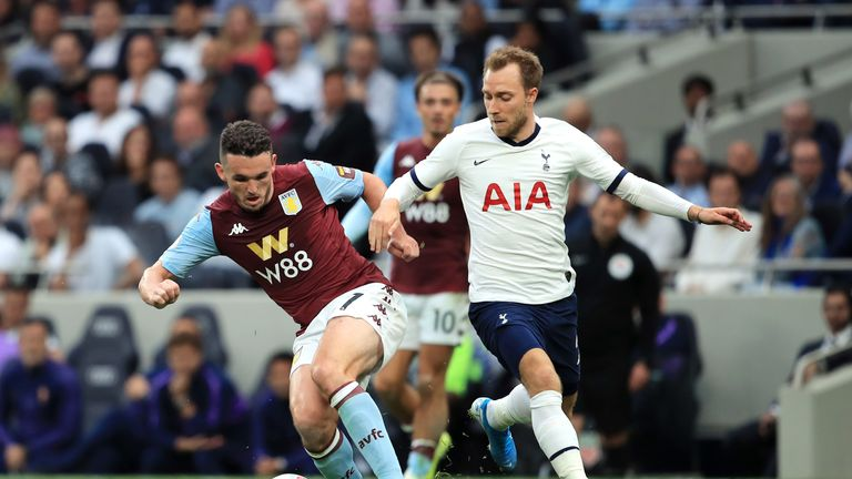 John McGinn is challenged by Christian Eriksen at Tottenham Hotspur Stadium