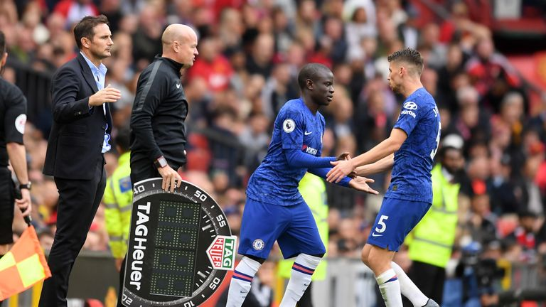Jorginho began brightly but was replaced by N'Golo Kante after fading