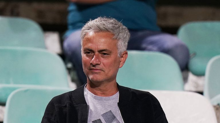 Jose Mourinho watches the Portuguese Primeira Liga match between Vitoria FC and CD Tondela at Estadio do Bonfim on August 12, 2019
