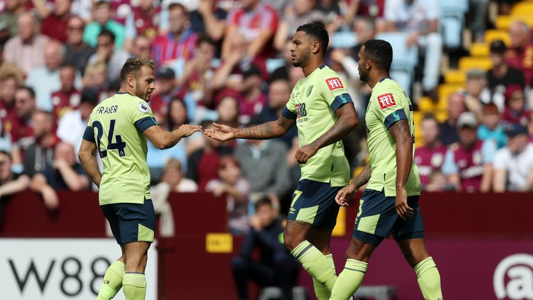 Josh King celebrates after giving Bournemouth an early lead at Villa Park
