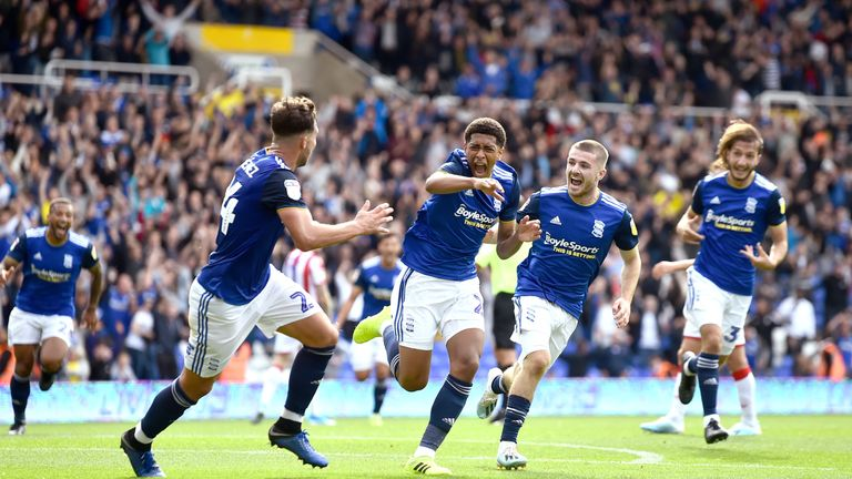 Jude Bellingham of Birmingham City celebrates after he scores their second goal