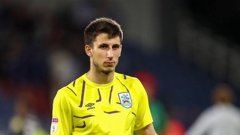 Kamil Grabara is on loan at Huddersfield from Liverpool