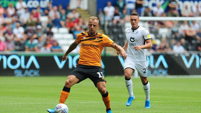 Kamil Grosicki in action during the Sky Bet Championship match between Swansea City and Hull City