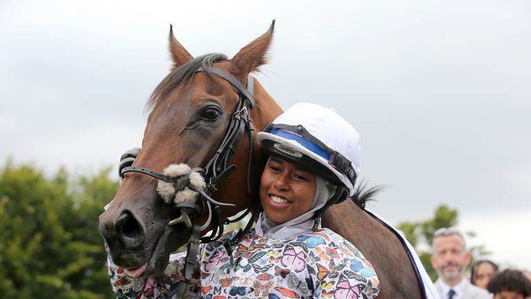 Khadijah Mellah after winning the Magnolia Cup on Haverland during day three of the Qatar Goodwood Festival at Goodwood Racecourse, Chichester.
