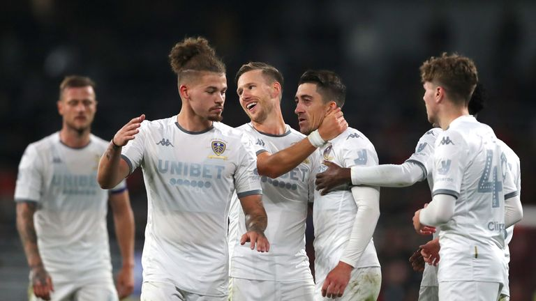 Kalvin Phillips celebrates with Leeds team-mates in pre-season