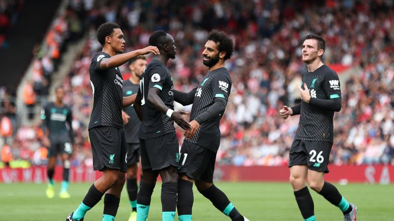 Liverpool celebrate one of their goals