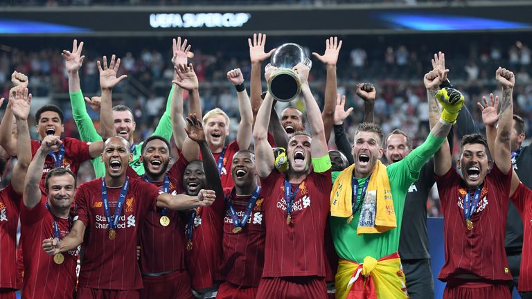 Liverpool celebrate their Super Cup triumph