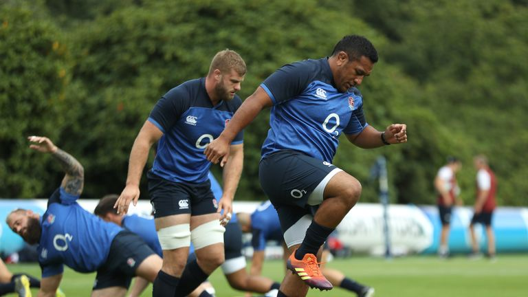 Mako Vunipola is put through his paces at England's training base at Pennyhill Park