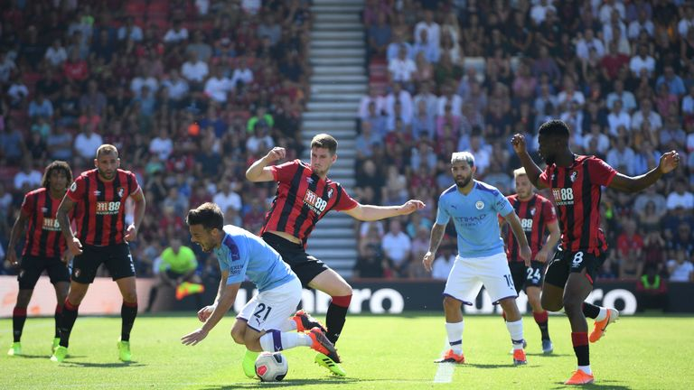 Pep Guardiola was unhappy at VAR for not awarding a penalty after David Silva went over in the box at Bournemouth