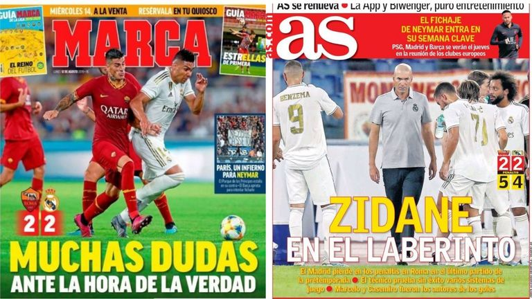 The front pages of Spanish newspapers Marca and AS this week. Marca says 'many doubts before the moment of truth' and AS says 'Zidane in the labyrinth'