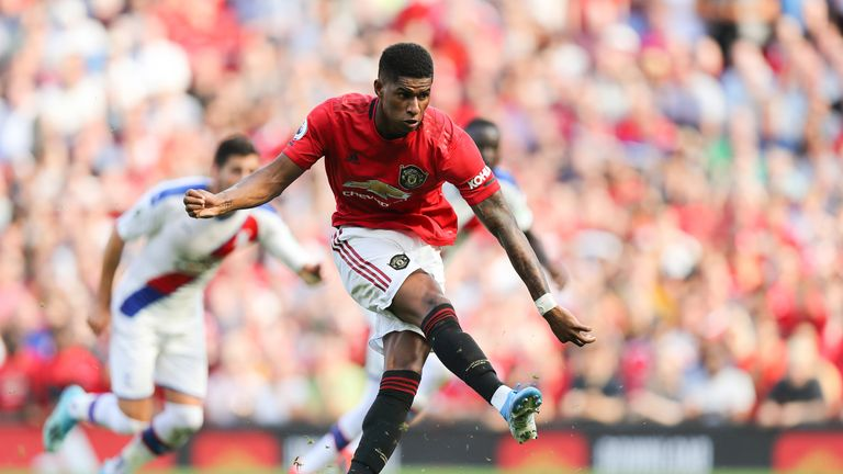 Marcus Rashford misses a second half penalty