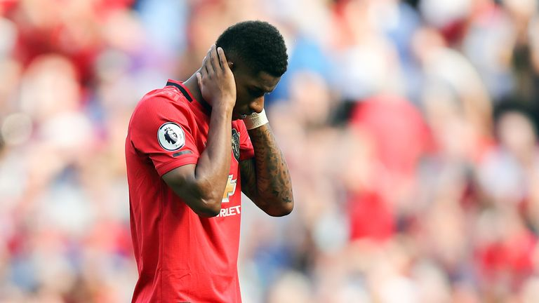 Marcus Rashford reacts to missing a second half penalty
