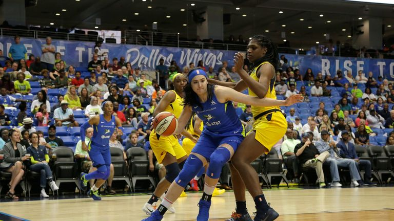 Megan Gustafson in action for the Dallas Wings