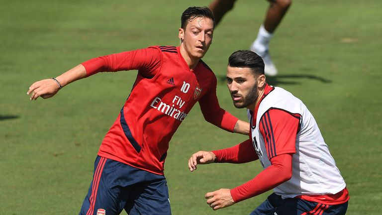 Mesut Ozil and Sead Kolasinac of Arsenal in action during the Arsenal Training Session on July 12, 2019 in Los Angeles, California.