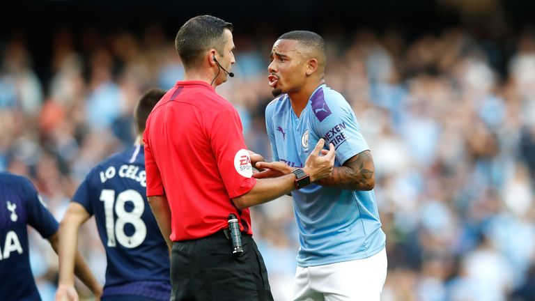 Manchester City's Gabriel Jesus appeals to the match referee Michael Oliver after his goal is ruled out by VAR