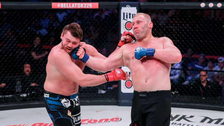 Sergei Kharitonov lands a heavy right hand on Matt Mitrione in the main event of Bellator 225