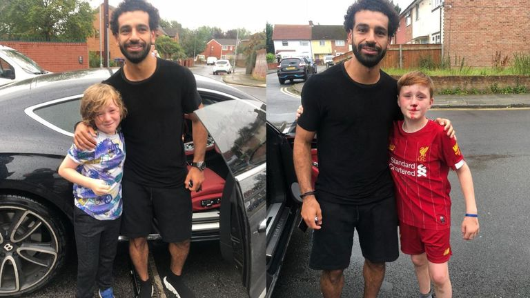 Mohamed Salah posed with Louis, right, and Isaac, left, after seeing the accident. Pic: Joe Cooper
