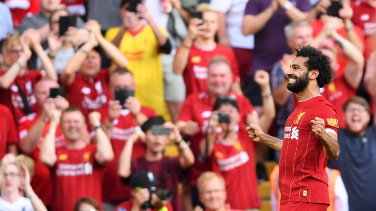 Mohamed Salah celebrates his second goal in front of the Anfield crowd